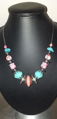 Picture of Red & turquoise bead necklace
