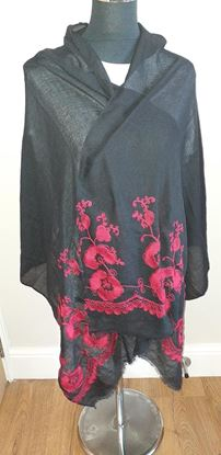 Picture of Black scarf with red embroidery