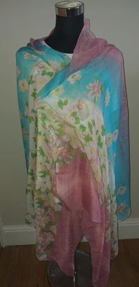 Picture of Pink blue floral scarf