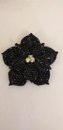 Picture of Black gem flower brooch/ hairclip